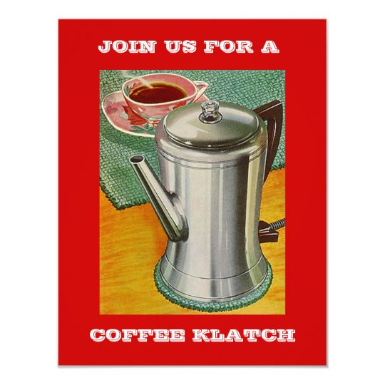 Retro COFFEE PERCOLATOR Invitation PARTY INVITE