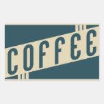 retro coffee rectangular sticker