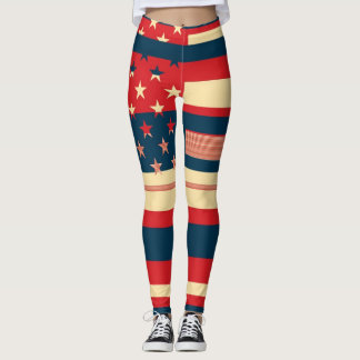 Retro Color American Flag #10 Leggings