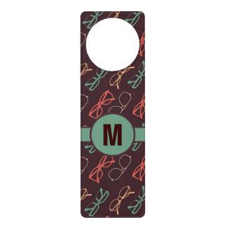 Retro Colored Glasses Pattern Monogram Door Hangers