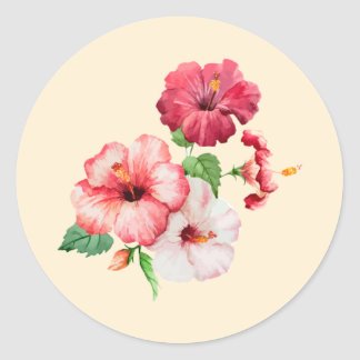 Retro colored hibiscus on creamy pink classic round sticker