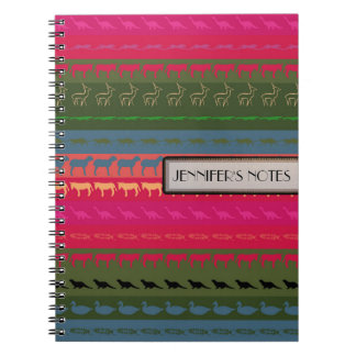 Retro Colorful Animals Modern Stripes Pattern #11 Notebook