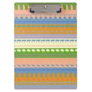 Retro Colorful Animals Modern Stripes Pattern #15 Clipboard