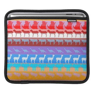 Retro Colorful Animals Modern Stripes Pattern #2 iPad Sleeve