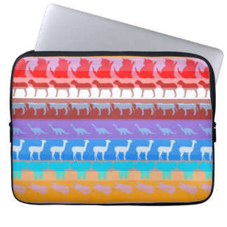 Retro Colorful Animals Modern Stripes Pattern #2 Laptop Sleeve