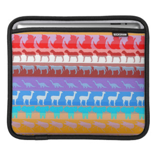Retro Colorful Animals Modern Stripes Pattern #2 Sleeves For iPads