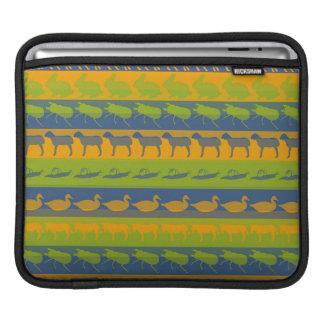 Retro Colorful Animals Modern Stripes Pattern #3 iPad Sleeve
