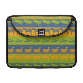 Retro Colorful Animals Modern Stripes Pattern #3 Sleeve For MacBooks