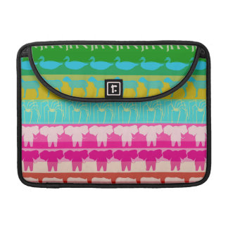 Retro Colorful Animals Modern Stripes Pattern #4 Sleeve For MacBook Pro