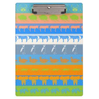 Retro Colorful Animals Modern Stripes Pattern #5 Clipboard