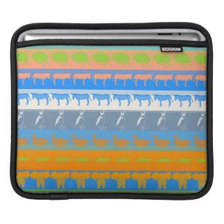 Retro Colorful Animals Modern Stripes Pattern #5 iPad Sleeve