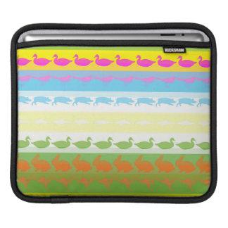 Retro Colorful Animals Modern Stripes Pattern #6 iPad Sleeve