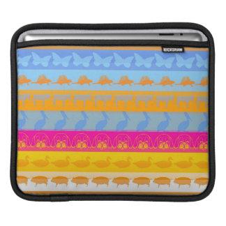 Retro Colorful Animals Modern Stripes Pattern #7 iPad Sleeve