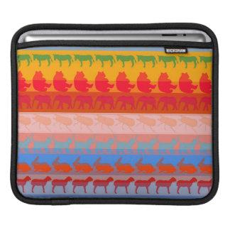 Retro Colorful Animals Modern Stripes Pattern #8 iPad Sleeve