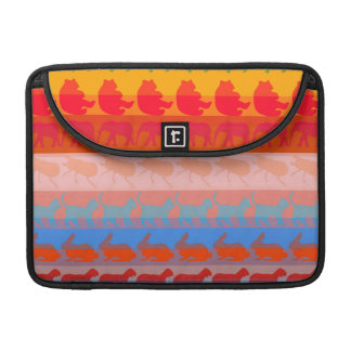 Retro Colorful Animals Modern Stripes Pattern #8 Sleeve For MacBooks