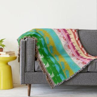 Retro Colorful Animals Modern Stripes Pattern #8 Throw Blanket