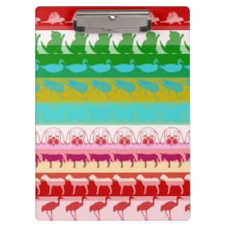 Retro Colorful Animals Modern Stripes Pattern Clipboard
