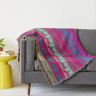 Retro Colorful Animals Modern Stripes Pattern Throw Blanket