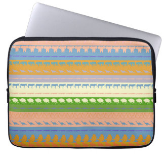 Retro Colorful Animals Pattern #3 Laptop Sleeve