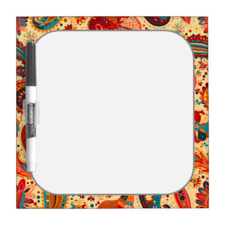 Retro Colorful Beautiful Boho Bohemian Paisley Dry Erase Board