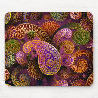 Retro Colorful Beautiful Boho Bohemian Paisley Mouse Pad