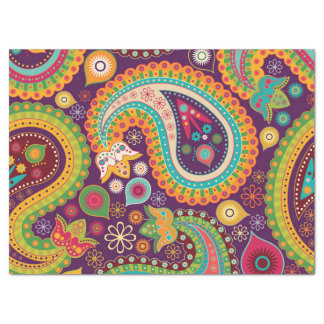 Retro Colorful Beautiful Boho Bohemian Paisley Tissue Paper