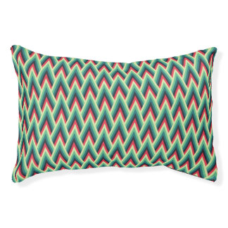 Retro Colorful Chevrons Pattern Pet Bed