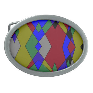 Retro Colorful Diamond Abstract Belt Buckle