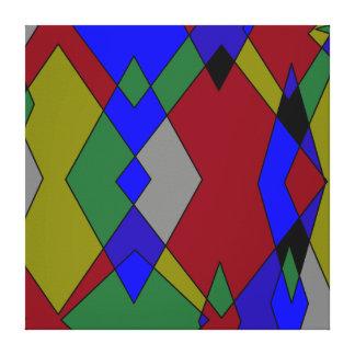 Retro Colorful Diamond Abstract Canvas Print
