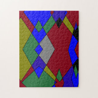 Retro Colorful Diamond Abstract Jigsaw Puzzle