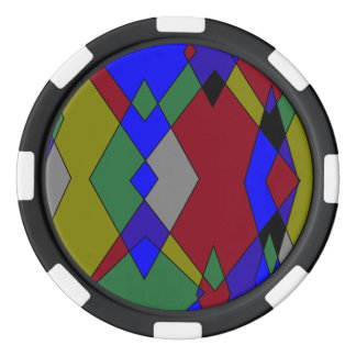 Retro Colorful Diamond Abstract Poker Chips