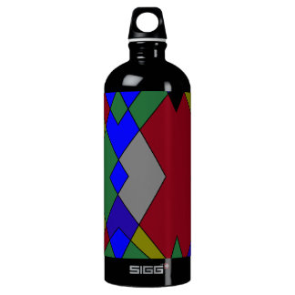 Retro Colorful Diamond Abstract Water Bottle