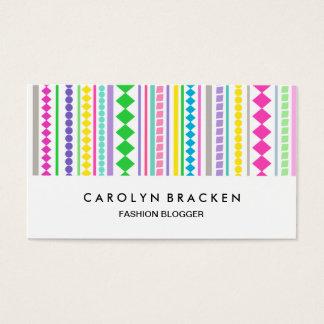 Retro Colorful Diamonds Stripes Business Card