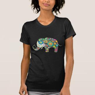 Retro Colorful Flower Elephant & Diamonds Pattern T-Shirt