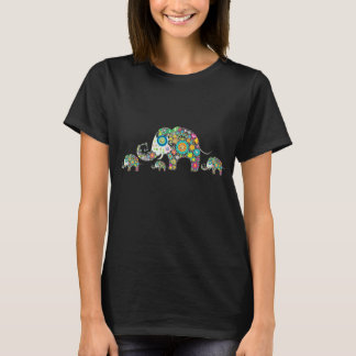 Retro Colorful Flower Elephant Family T-Shirt