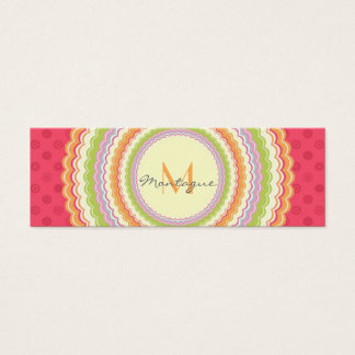 Retro Colorful Flower Power Monogram Appointment Mini Business Card