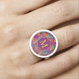Retro Colorful Jewel Tone Swirly Wave Pattern