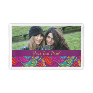 Retro Colorful Jewel Tone Swirly Wave Pattern Acrylic Tray