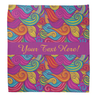 Retro Colorful Jewel Tone Swirly Wave Pattern Bandannas