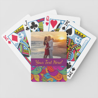 Retro Colorful Jewel Tone Swirly Wave Pattern Bicycle Playing Cards