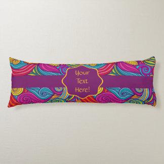 Retro Colorful Jewel Tone Swirly Wave Pattern Body Cushion