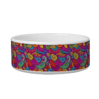 Retro Colorful Jewel Tone Swirly Wave Pattern Bowl