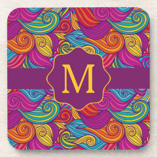 Retro Colorful Jewel Tone Swirly Wave Pattern Coaster