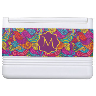 Retro Colorful Jewel Tone Swirly Wave Pattern Cooler