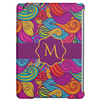 Retro Colorful Jewel Tone Swirly Wave Pattern Cover For iPad Air