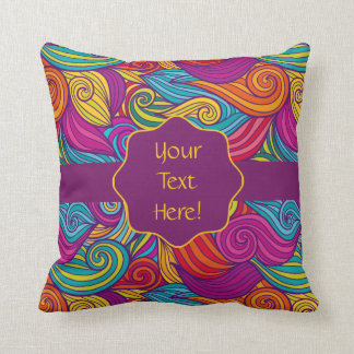 Retro Colorful Jewel Tone Swirly Wave Pattern Cushion