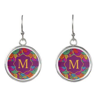 Retro Colorful Jewel Tone Swirly Wave Pattern Earrings