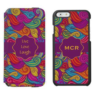 Retro Colorful Jewel Tone Swirly Wave Pattern Incipio Watson™ iPhone 6 Wallet Case