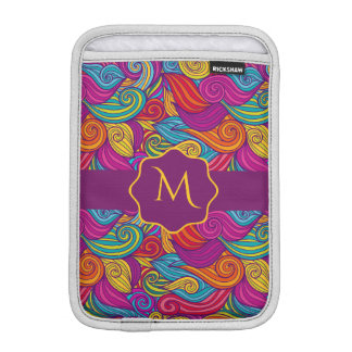 Retro Colorful Jewel Tone Swirly Wave Pattern iPad Mini Sleeve