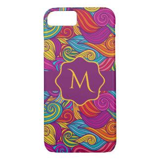 Retro Colorful Jewel Tone Swirly Wave Pattern iPhone 8/7 Case